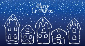 Crayon gingerbread christmas house set in falling snowflakes. vector illustration