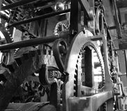Like clockwork. Timing mechanism for clocktower in Bruges Stock Image