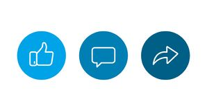 Free Like, Coment, Repost Line Icons. Vector Royalty Free Stock Image - 169868866