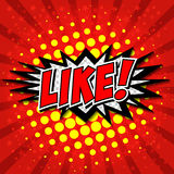 LIKE ! Comic Speech Bubble, Cartoon. Stock Image