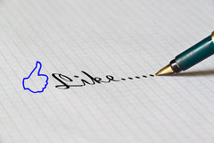 Like Concept. By classic tools, pen and note book Stock Photos