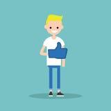 Like concept. Teenage blond boy wearing foam finger /. Flat  illustration Stock Images
