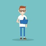 Like concept. Teenage nerd boy wearing foam finger. / editable flat vector illustration Stock Image