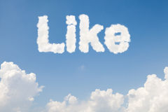 Like concept text in clouds Stock Images