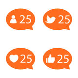 Like Counter Notification Icon set Stock Photo