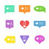 Like Counter Notification Icons Set. Flat Desing Style Stock Photography