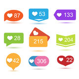 Like counter notification icons set Royalty Free Stock Photos