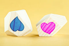 Like and dislike. Two heart-shaped pictures illustrating opposite feelings - sympathy and antipathy (like and dislike, love and hate stock image