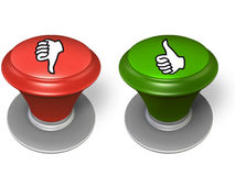 Like and dislike button. Red and green button, over white background Royalty Free Stock Photography