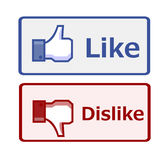 Like and dislike button. Isolated on white Royalty Free Stock Images