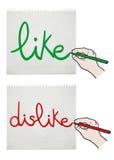 Like and dislike card Royalty Free Stock Photography