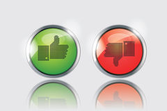 Like Dislike Icon Button. Vector thumbs up and down glossy buttons on white background stock illustration