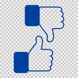 Like and Dislike Icon. Thumbs Up and Thumb Down, Hand or Finger Illustration on Transparent Background. Symbol of. Positive and Negative. Rate Choice for Social Royalty Free Stock Images