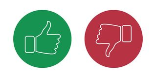 Like and dislike icons set. Thumbs up and thumbs down. Vector illustration. vector illustration