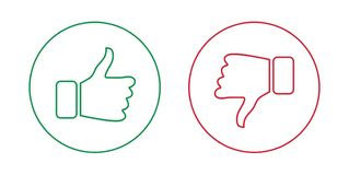 Like and dislike outline icons set. Thumbs up and thumbs down. Vector illustration vector illustration
