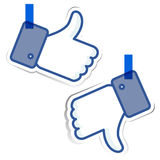 Like and dislike sticky paper stock illustration