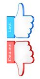 Like and dislike symbols. 3d vector illustration Stock Image
