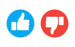 Thumb up and down red and green icons. Vector illustration. I like and dislike round buttons in flat design. Like and Dislike Vector Flat Icons. Design Elements royalty free illustration