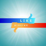Like and Dislike. Vector illustration of abstract hand with thumbs up and down showing like and dislike Royalty Free Stock Photo