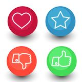 Like, dislike, voting and rating, vector icon set, hand with th Royalty Free Stock Images