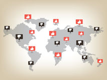 Like and dislike world map Royalty Free Stock Photography