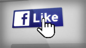 Like On Facebook. Digital animation of Like Us On Facebook buttom on computer or smartphone screen. Full HD. Macro