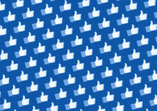 Like Facebook logo wall. Wall texture with facebook like button Royalty Free Stock Photo