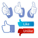 Like facebook symbol. Like unlike facebook symbol, or pulgares arriba symbol Royalty Free Stock Photos