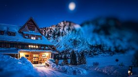 Like in fairytale. Mountain hotel on Popradske Pleso in the High Tatras Stock Images