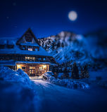 Like in fairytale. Mountain hotel on Popradskom Pleso in the High Tatras Stock Photo