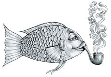 Like a fish out of water. A fish quietly smokes the pipe Royalty Free Stock Photography