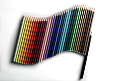 Flag of pencils. Like a flag of pencils in color gradation as a growth chart Royalty Free Stock Photo