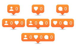 Like, follow, comment icons in flat style. Orange notification tooltip with heart, user, speech bubble, counter and shadow on white background. Set 01. Vector stock illustration