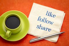 Like, follow, share - social media concept stock photography