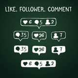 Like, follower, comment icons on chalkboard Royalty Free Stock Image