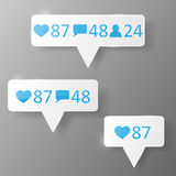 Like, follower, comment icons. Stock Photo