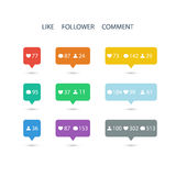 Like, follower, comment icons on white background. Stock Photos
