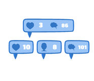 Like, follower and comment social media blue Royalty Free Stock Photos