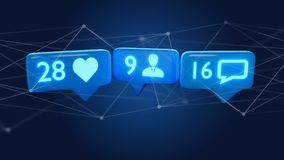 Like, Follower and message notification on social network - 3d r Royalty Free Stock Image