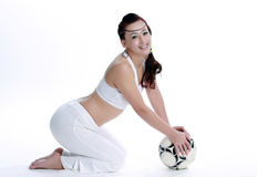 Like football Oriental female Stock Images