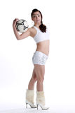 Like football Oriental female Royalty Free Stock Photography
