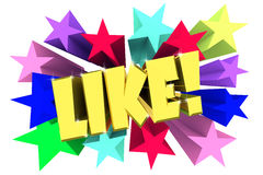 Like. Golden word among bright multi colored stars Stock Photo