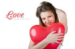 like härlig hjärta för luftballongen kvinnan Arkivfoton