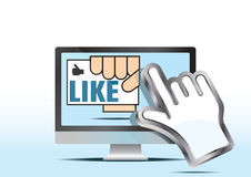 Like hand icon and computer. Stock Photography