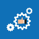 like hand icon with gear work icon Royalty Free Stock Image