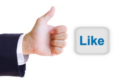 Like hand and like button. Isolated stock photos