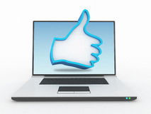 Like hand sign in laptop. 3d high quality render Stock Photos