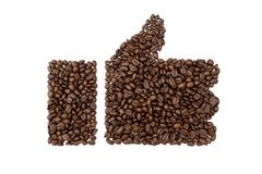 Like or hand symbol of coffee beans isolated on white background. Like symbol of coffee beans isolated on white background Stock Photos