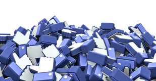 Like hands pile. 3D render of a pile like hand icons Stock Photo