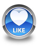 Like (heart icon) glossy blue round button Stock Photos